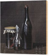 Still Life With A Jellyjar A Carafe And A Bottle Of Wine Wood Print