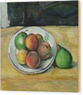 Still Life With A Peach And Two Green Pears Wood Print