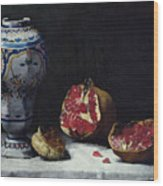 Still Life With A Pomegranate Wood Print by Auguste Theodule Ribot
