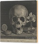 Still Life With A Skull And A Vase Of Roses Wood Print