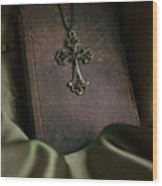 Still Life With An Old Book And Cross Pendant Wood Print