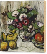 Still Life With Anemones And Fruit Wood Print