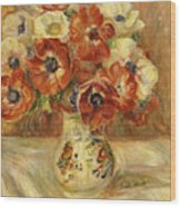 Still Life With Anemones  Wood Print by Pierre Auguste Renoir