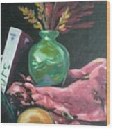 Still Life With Apple  Book And Vase Wood Print