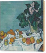 Still Life With Apples And A Pot Of Primroses, 1890 Wood Print