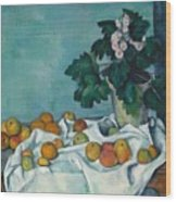 Still Life With Apples And A Pot Of Primroses Wood Print