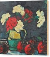 Still Life With Apples And Carnations Wood Print by Ana Maria Edulescu