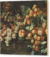 Still Life With Apples And Grapes Wood Print