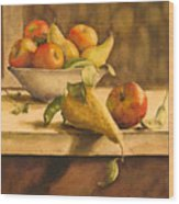 Still-life With Apples And Pears Wood Print
