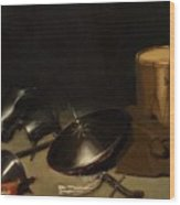 Still Life With Armor Shield Halberd Sword Leather Jacket And Drum Wood Print