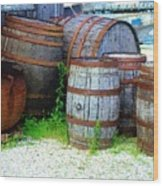 Still Life With Barrels Wood Print