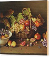 Still Life With Basket And Pomegranate Wood Print