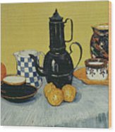 Still Life With Blue Enamel Coffeepot, Earthenware And Fruit, 1888 Wood Print