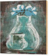 Still Life With Blue Flowers Wood Print
