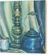 Still Life With Blue Tea Kettle Wood Print