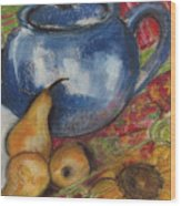 Still Life With Blue Teapot One Wood Print