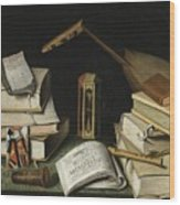 Still Life With Books Wood Print