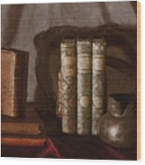 Still Life With Books Wood Print