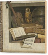 Still Life With Books Sheet Music Violin Celestial Globe And An Owl Wood Print