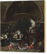 Still Life With Bottles And Oysters Wood Print