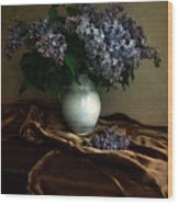 Still Life With Bouqet Of Fresh Lilac Wood Print