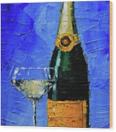Still Life With Champagne Bottle And Glass Wood Print