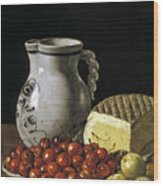 Still Life With Cherries  Cheese And Greengages Wood Print