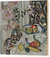 Still Life With Daisies And Fruit Wood Print