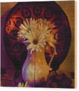 Still Life With Daisies And Grapes - Oil Painting Edition Wood Print