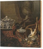 Still Life With Dead Game And A Silver Tureen On A Turkish Carpet Wood Print