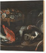 Still Life With Fish And Oysters  Wood Print