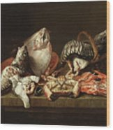 Still Life With Fishes, A Crab And Oysters Wood Print