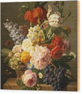 Still Life With Flowers And Fruit Wood Print by Jan Frans van Dael