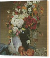 Still Life With Flowers And Pomegranates Wood Print