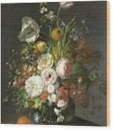 Still Life With Flowers In A Glass Vase Wood Print