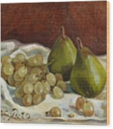 Still Life with French Grapes Wood Print