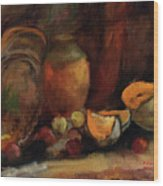 Still Life With Fruits And Pumpkin Wood Print