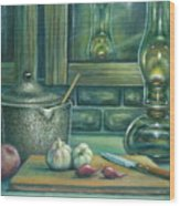 Still Life With Garlic Wood Print
