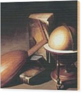 Still Life With Globe Lute And Books Wood Print
