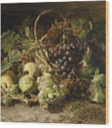 Still-life With Grapes And Pears Wood Print