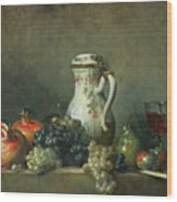 Still Life With Grapes And Pomegranates Wood Print