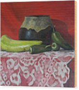 Still Life With Green Peppers Wood Print
