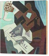 Still Life With Guitar, Book And Newspaper   Wood Print