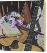 Still Life With Guitar Wood Print