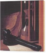 Still Life With Hourglass Pencase And Print Wood Print