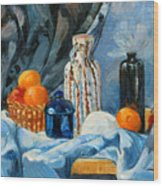 Still Life With Jugs And Oranges Wood Print