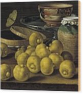 Still Life With Lemons And A Pot Of Honey Wood Print