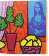Still Life With Matisse And Mona Lisa Wood Print