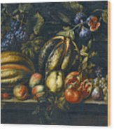 Still Life With Melons Apples Cherries Figs And Grapes On A Stone Ledge Wood Print