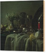 Still Life With Metal Dishes, Fruits And Fresh Flowers Wood Print